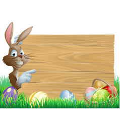 easter eggs wooden sign vector image