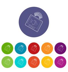 Echo sounder icons set color vector