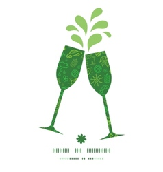 Ecology symbols toasting wine glasses silhouettes vector