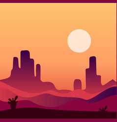 Evening desert landscape background natural vector