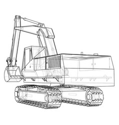 Excavator wire-frame eps10 format vector