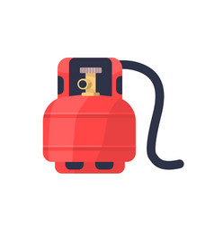 Flammable gas red tank flat vector