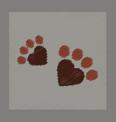 Flat shading style icon cat tracks vector