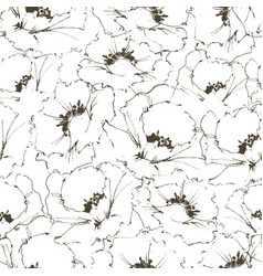 Floral seamless pattern sketched poppy design vector