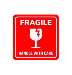 Fragile sticker care handle label glass vector