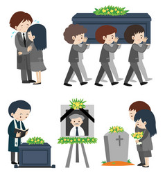 Funeral ceremony with people crying vector