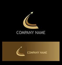 gold arrow rise loop business company logo vector image