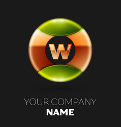 golden letter w logo symbol in golden-green circle vector image