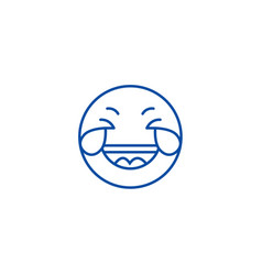 grinning emoji wit h face line icon concept vector image