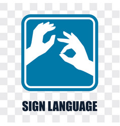 Hand with sign language gesture on transparent vector