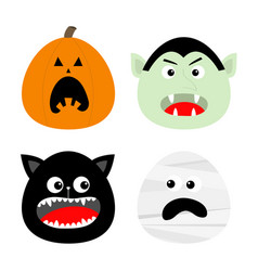 happy halloween icon set pumpkin vampire count vector image