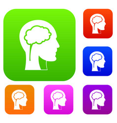 head with brain set color collection vector image