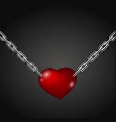 heart hanging on chains vector image