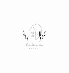 House floral hand drawn line art old home vector