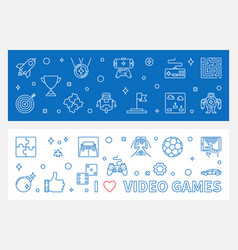 i love video games outline banners game vector image
