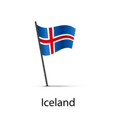 iceland flag on pole infographic element on white vector image