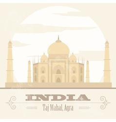 India landmarks retro styled image vector