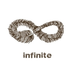 Infinite feather line drawing vector image