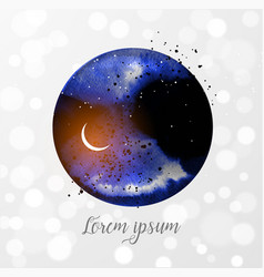 ink wash painting night sky wig stars vector image