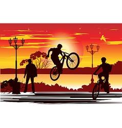 jump rider at sunset vector image vector image