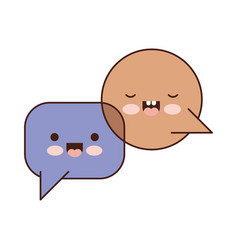 Kawaii dialogue speech set with tail in colorful vector