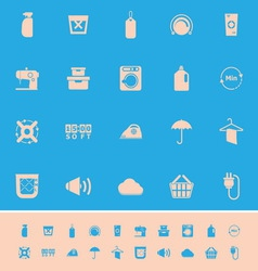Laundry related color icons on blue background vector image