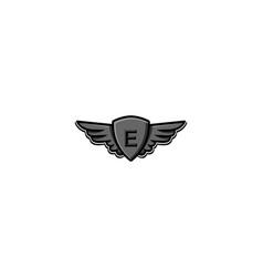 Letter e initial logo wing and badge shield vector
