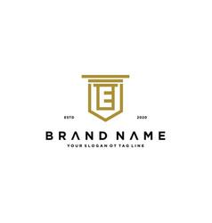 Letter e shield law logo design concept vector