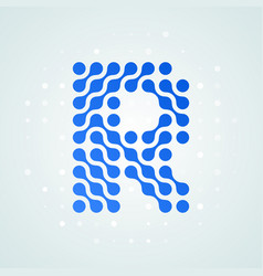 Letter r logo halftone icon vector