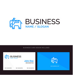 logo and business card template for elephant vector image