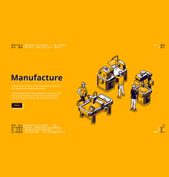Manufacture isometric landing page web banner vector