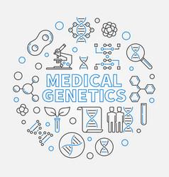 Medical genetics round medicine line vector