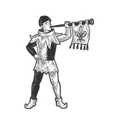 medieval trumpeter sketch vector image