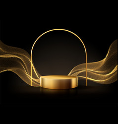 Minimal black scene with golden lines cylindrical vector