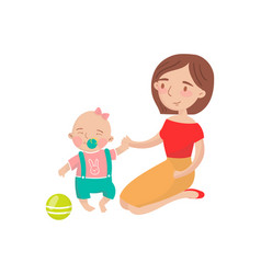 Mom playing ball with her little baby son cartoon vector