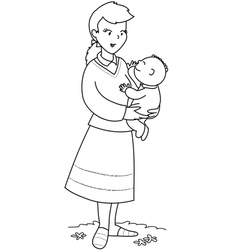 mother with cute baby vector image vector image