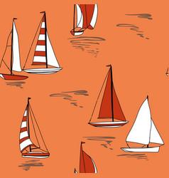 Nautical sail boat print seamless pattern vector