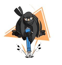 Ninja with an ink pen vector