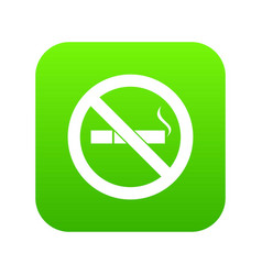 no smoking sign icon digital green vector image