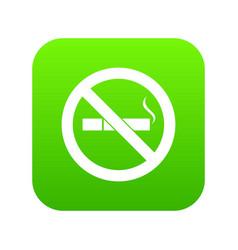 no smoking sign icon digital green vector image