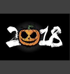 number 2018 and halloween pumpkin vector image