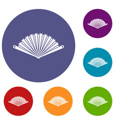 opened oriental fan icons set vector image