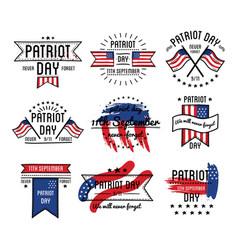 patriot day on 11th september emblems set vector image