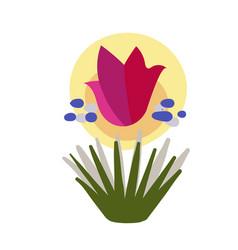 Pink flower card floral design element primitive vector