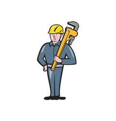 Plumber Holding Wrench Isolated Cartoon vector image