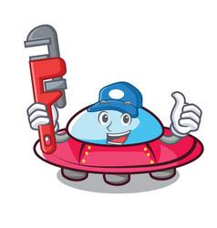 Plumber ufo mascot cartoon style vector