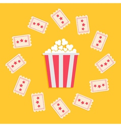 Popcorn Box and Ticket round frame with stars vector