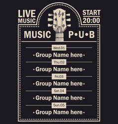Poster for beer pub with live music with guitar vector