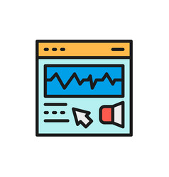 Presentation video editing flat color line icon vector