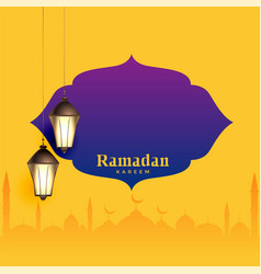 ramadan kareem greeting design with text space vector image